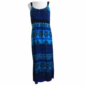 Vintage R & K Originals Blue & Teal Maxi Dress 12